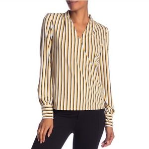 Adrianna Papell Striped Faux Wrap Blouse L/S SZ S